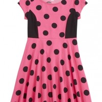 Colorblock Dot Skater Dress