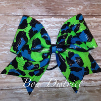 """3"""" Neon Green, Blue, and Black Cheetah with Silver Dots Cheer Bow"""