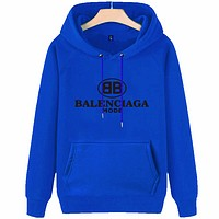 Balenciaga autumn and winter new tide brand men and women loose thin section hooded sweater Blue