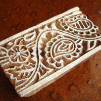 Hand Carved Wood Stamp: Indian Paisley Flower Border Printing Block, India Henna Tattoo Mendhi Textile Stamp