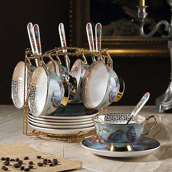 Tea Set - British Afternoon Tea Set with blue and brown birds on floral background