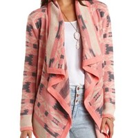 Aztec Cascade Cardigan Sweater by Charlotte Russe - Coral