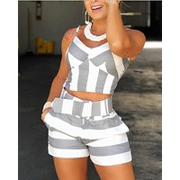 Women Colorblock Striped Cami Tops & Shorts Sets Ladies Casual 2 Piece Set Spaghetti Strap V-Neck Tops And Short Pants