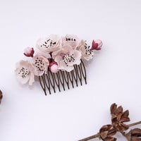 sakura Hair Comb,cherry blossom, bridesmaid, hair clip, hair accessories,polymer clay flower,gift for her