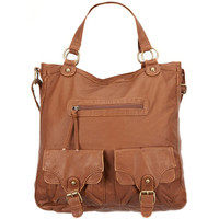 T-Shirt & Jeans Faux Leather 2 Pocket Hobo Bag Cognac One Size For Women 20807340901