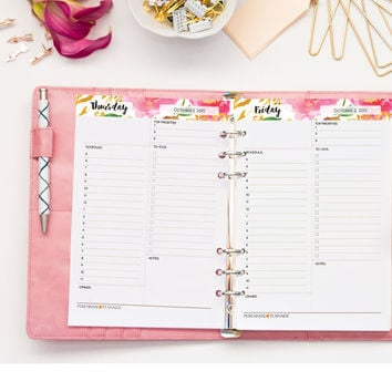 Daily Planner Printable, Day Plan, Hourly Schedule, 2015 2016 DATED, Floral Watercolor, To Do List, Perennial Planner