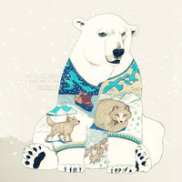 Polar Bear - romantic print gift for her cute animal drawing fine art magic home decor woodland nature mint white outdoor for him man dude