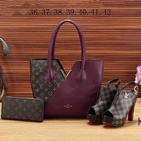 LV Louis Vuitton 2018 new women's high quality three-piece Messenger bag F-KSPJ-BBDL purple