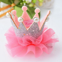 1 pcs Cute Baby Girls Crown Princess Hair Clip Lace Pearl Shiny Star Headband Hairpins Hair Accessories the cheapest products
