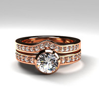 Rose gold ring Engagement set, white sapphire engagement ring, diamond ring set, bezel, wedding  set, half eternity, sapphire, curved band