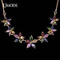 UMODE Luxury Rose Gold Color Marquise-cut Multicolored CZ Stone Sun Flower Necklaces New Year's Gifts Jewelry for Women UN0020