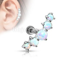 Five Opal Ball 316l Surgical Steel Tragus/cartilage Barbell Journey Curve 5 Gems