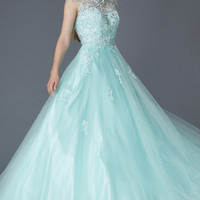 G2110 High Neck Lace Tulle Ballgown Prom Dress