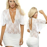 Sexy Sheer White Lace Short Sleeve Club Wear Mini Dress - Extra Large