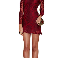 Burgundy Lace Sleeves Mini Dress