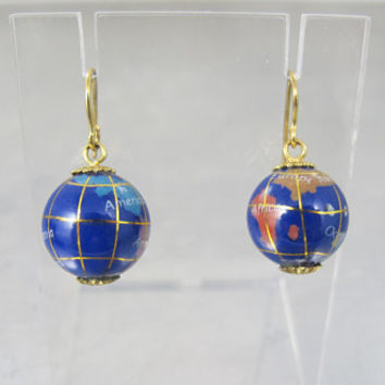 Enamel Globe Earrings. Lapis Blue Multi Color Enamel World Globe Dangle Earrings. Michael Anthony Style.