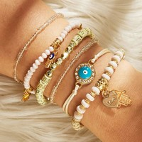 Hand & Heart Charm Beaded Bracelet Set 6pcs