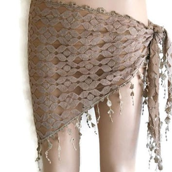 Women Bikini cover up, Brown Flower Pareo, triangle beach cover up, sarong scarf, scarf for women, mother's day gift, swimsuit cover up