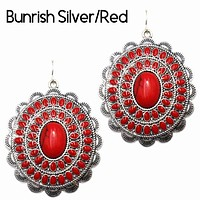 Concho Earring Burnish Silver/Red