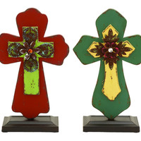 Inspirational Cross decor With Blooming Flowers: Inspirational Cross d_cor With Blooming Flowers