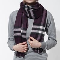 DCCKHI2 New Authentic BURBERRY Scarf 3994302-aubergine Women's