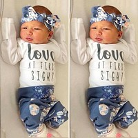 US 3PCS Newborn Baby Girl Autumn Clothes Romper Tops Floral Long Pants Outfits