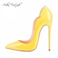 New extreme high heels shoes for woman 12cm party shoes thin heels slip-on ladies shoes plus size yellow blue purple customize