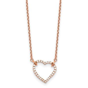 14k Rose Gold Real Diamond Heart Necklace