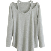 Light Gray V-Neck Long Sleeve T-shirt