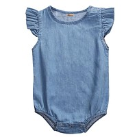 Pudcoco Summer 2017  Newborn Infant Baby Girls Denim Romper Lotus sleeve Jumpsuit Clothes Playsuit Outfit