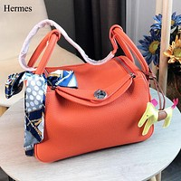Hermes Fashion New Leather Shoulder Bag Handbag Women Orange