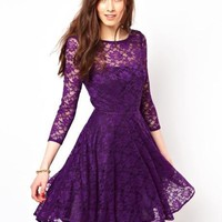 2015 A-Line Crew Purple Lace Homecoming Dresses 3/4 Long Sleeve Knee-Length Graduation Dress Ruched Party Dress Sheer Neck Prom Gowns Online with $92.15/Piece on Excellentdress's Store | DHgate.com