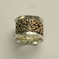 Wide sterling silver wedding band with filigree design - Misty.