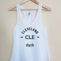 CLE - Cleveland Ohio Tank Top - Light Weight White Racerback Womens Tank Top - Sizes - Small Medium Large