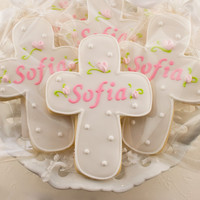 Personalized Rosebud Cross Cookies for Baptism, Communion - 24 Decorated Sugar Cookie Favors