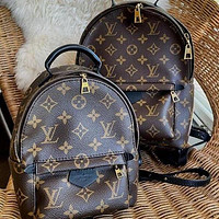 LV Louis Vuitton Women Casual Daypack School Bag Cowhide Leather Backpack