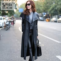 Women Black Leather Long Trench Coat 2016 Fall Fashion New Plus Size Single Breasted Long PU Leather Trench Coats A1460