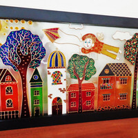 """Old town & Angel art 17""""x9"""" Glass painting Wall decor"""