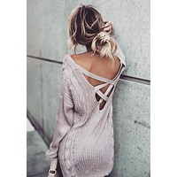 Coffee Pink Cut Out Boat Neck Casual Pullover Sweater