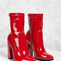 Patent Faux Leather Sock Boots
