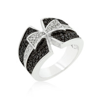 Jet Black and Clear CZ Bow Tie Ring