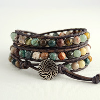 Earthy triple wrap beaded bracelet. Bohemian chic wrap bracelet