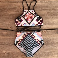 Fashion hot sale printed high-waisted band swimsuit sexy two-piece bikini
