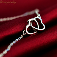 S925 pure silver necklace chain double ring set of love The European and American wind is contracted fashion