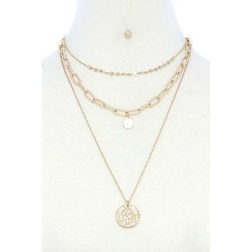 Coin Pendant Oval Link Layered Necklace