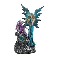 GOTHIC FAIRY AND DRAGON FIGURINE