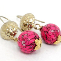Pink Mosaic Gemstone Gold Earwire Earrings, Pink Gold Hammered Disk French Earwires Earrings