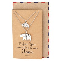 Bryony Mama and Baby Bear Pendants 2 sets of Necklace, Mother and Daughter Jewelry