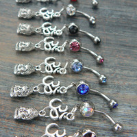 choose 1 ohm buddah belly ring om buddha meditation in zen yoga Indie new age boho gypsy hippie belly dancer beach and hipster style