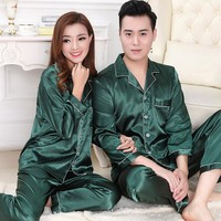 S02 Silk High Quality Ice Silk Men and Women Long Sleeves Home Clothing Sets For the Young Lover Suitable for All Seasons
